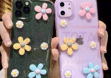 Coque iPhone Lovebay paillettes transparentes 3D fleurs