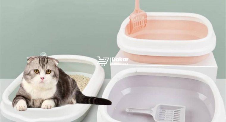 Bac à sable anti-éclaboussures en plastique pour chat et chiot